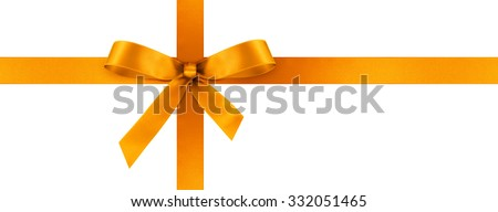 Orange Satin Gift Ribbon with Decorative Bow - Horizontal Panorama Banner - Christmas, Easter, Birthday and Valentine Decor - Isolated on White Background - For Gift Coupon, Gift Certificate and Bonus - stock photo