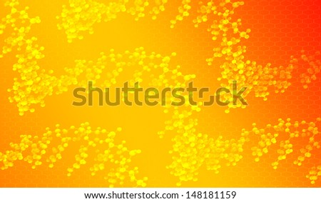 Orange scientific background with white dna molecules and graphene pattern