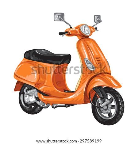 Orange scooter on white background - stock photo