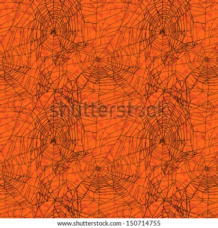 Orange seamless spider web Halloween pattern - stock photo