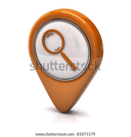 Orange search icon - stock photo