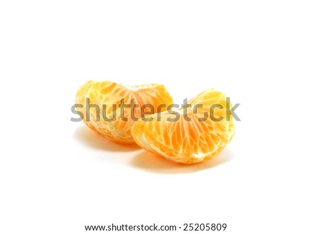 Orange segments of a tangerine isolated on a white background