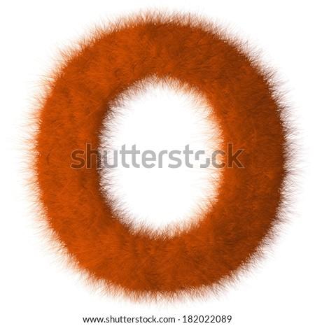Orange shag O letter isolated on white background - stock photo