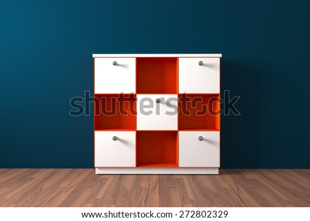 Orange Shelf and white cabinet Furniture in Empty room decorate blue wall and wooden floor - stock photo
