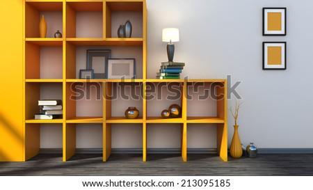 orange shelf with vases, books and lamp - stock photo