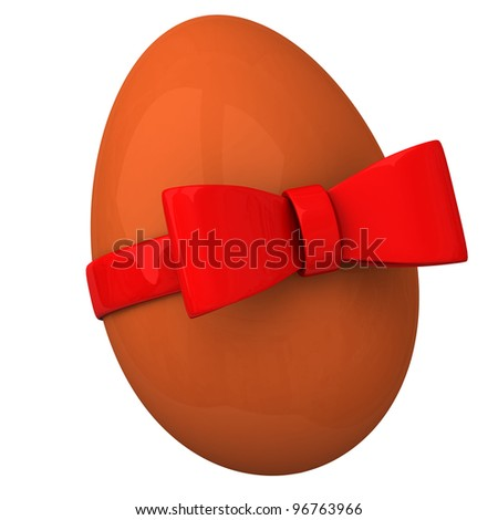 Orange shiny Easter egg with red ribbon bow 3d