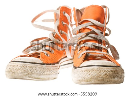 Orange shoe, isolated on white [with clipping path] - stock photo