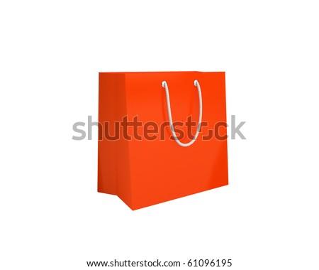 orange shopping bag - stock photo