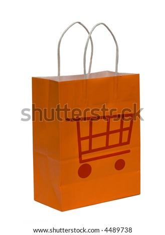Orange shopping bag isolated on white background - stock photo