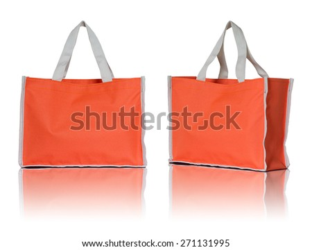 orange shopping bag on white background - stock photo
