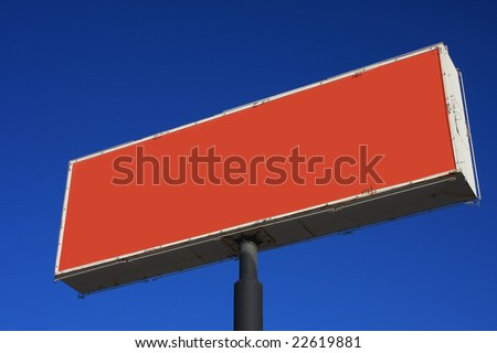 Orange sign with neon trim - stock photo