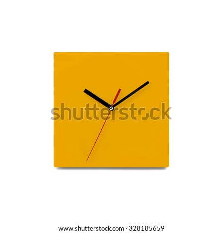 Orange simple wall clock - watch isolated on white background - stock photo
