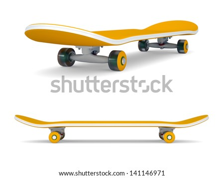 Orange skateboard. Isolated render on a white background - stock photo