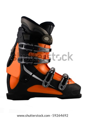 orange ski shoe isolated on white - stock photo