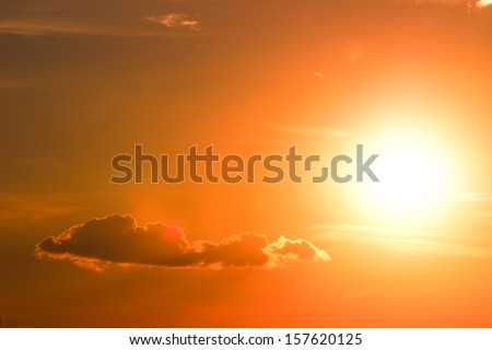 Orange sky and dramatic sun. Sunset/Sunrise. Close up.  - stock photo