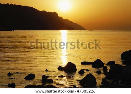 orange sky during the sunset - stock photo