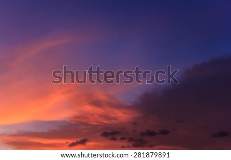 orange sky with sunset in the evening