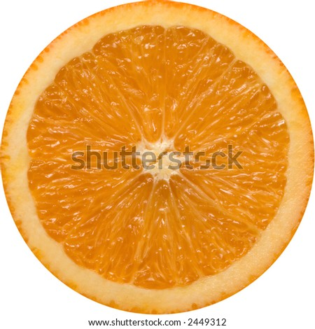 Orange Slice. A perfectly round orange slice isolated on a white background. - stock photo