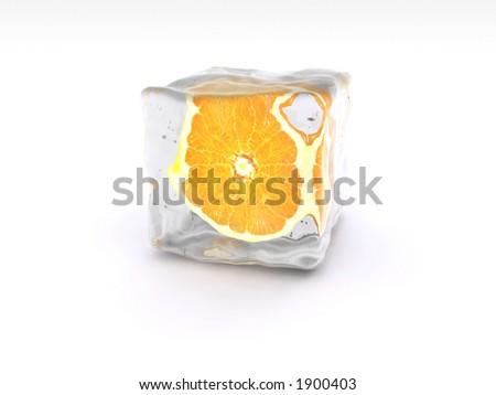 Orange slice in the ice. - stock photo