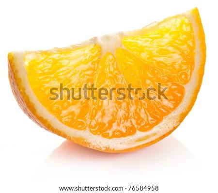 Orange slice on a white background. - stock photo