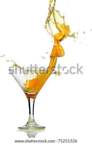 orange slice splash from glass - stock photo