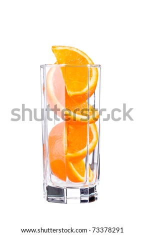 orange sliced in glass isolated on white
