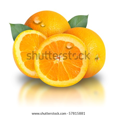 Orange slices are on a white background and there are two leaves behind them. There are water drops for freshness of the fruit. Use it for a health or diet concept.