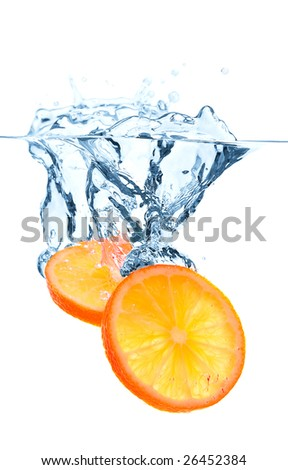 Orange slices falling into the water