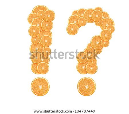 orange slices formed question and exclamation mark. - stock photo