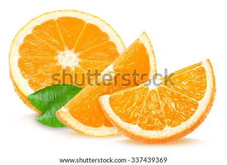 orange slices isolated on white background - stock photo