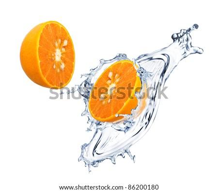 Orange slices with water splash - stock photo