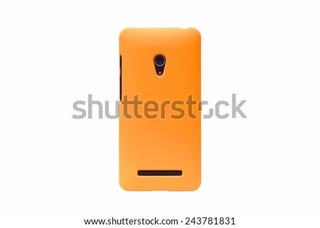 orange smartphone on isolated background                                     - stock photo