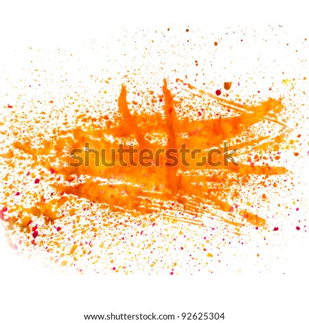 orange smear spot blob watercolor texture isolated - stock photo