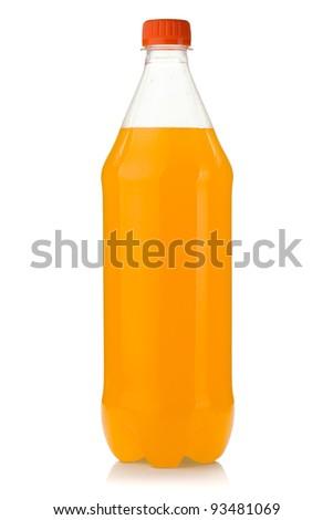Orange soda bottle. Isolated on white background - stock photo