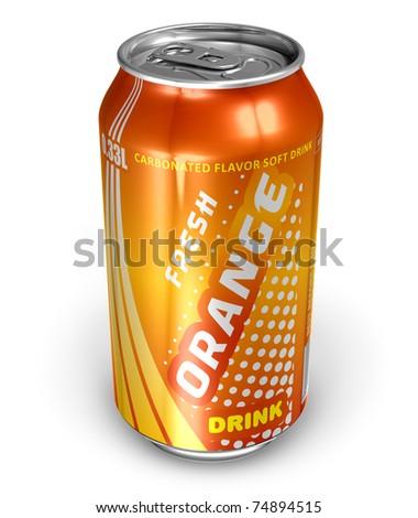 Orange soda drink in metal can - stock photo