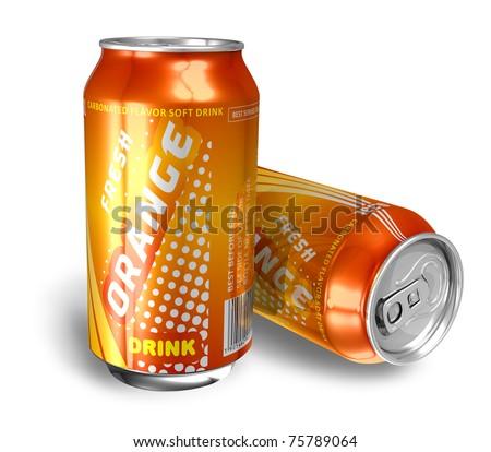 Orange soda drinks in metal cans - stock photo