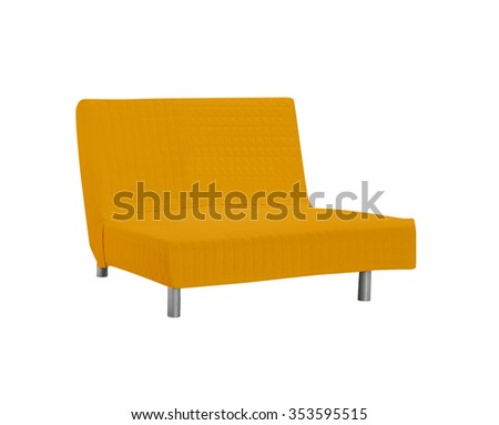 Orange sofa isolated on white background - stock photo
