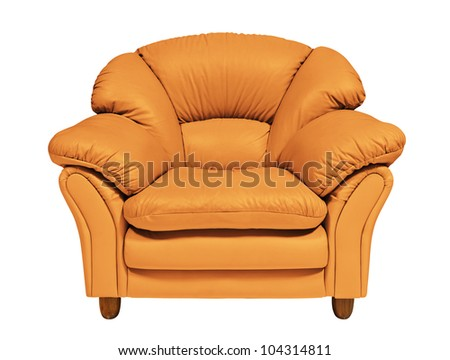 Orange sofa on white background with clipping path - stock photo