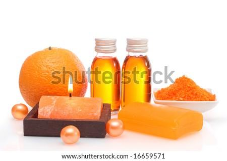 Orange spa isolated on white background - stock photo