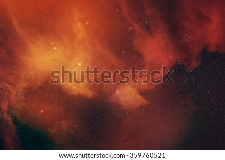 Orange space nebula digital illustration - stock photo