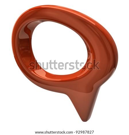 Orange speech bubble isolated on white background - stock photo