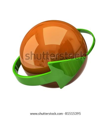 Orange sphere and green arrow - stock photo