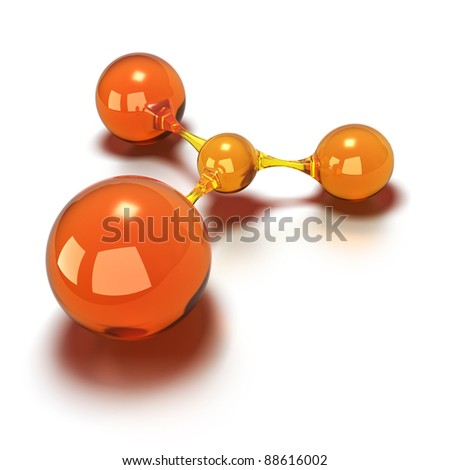 orange spheres every balls are connected to each other, 3d concept image over a white background - stock photo