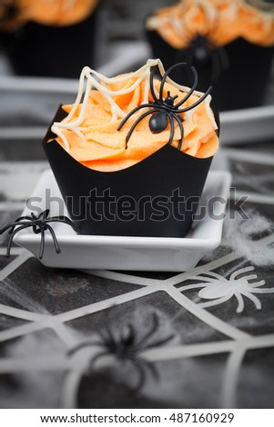 Orange spider cupcake for Halloween
