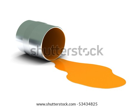 Orange spilled paint isolated on white background. High quality 3d render. - stock photo