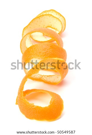 orange spiral peel isolated on white