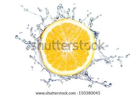 orange splash with water before white background - stock photo