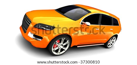 Orange Sports Utility Vehicle Isolated on White - stock photo