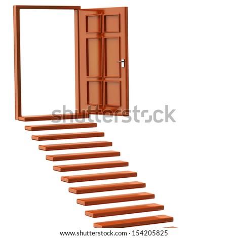 Orange stairs and open doors - stock photo