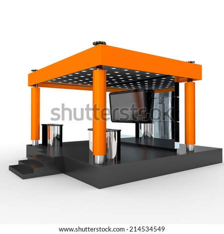 orange stand or booth in a trade show. 3d render